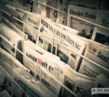 A rack of German newspapers